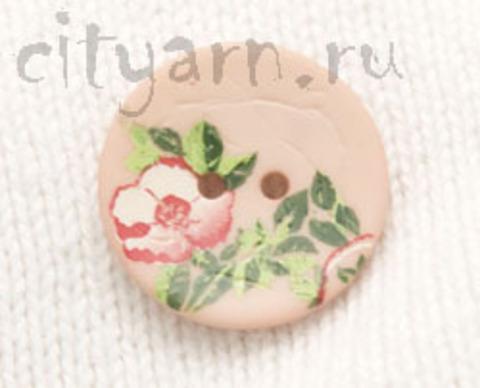 Пуговица с цветком шиповника, нежно-розовая, 20 мм
