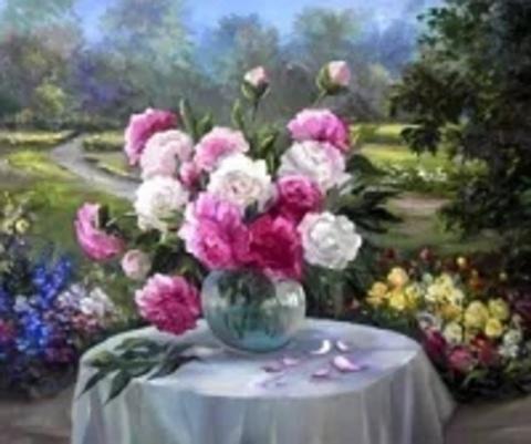 Алмазная Мозаика 20x30 Букет в вазе в цветочном саду (арт. MTCH8275)