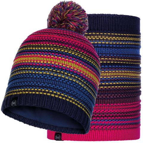 Комплект вязаный шапка-шарф Buff Knitted Polar Neper Night Blue фото 1
