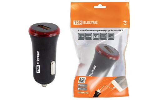 Автомобильное зарядное устройство, АЗУ 1, 2,1 А, 1 USB, черный, TDM