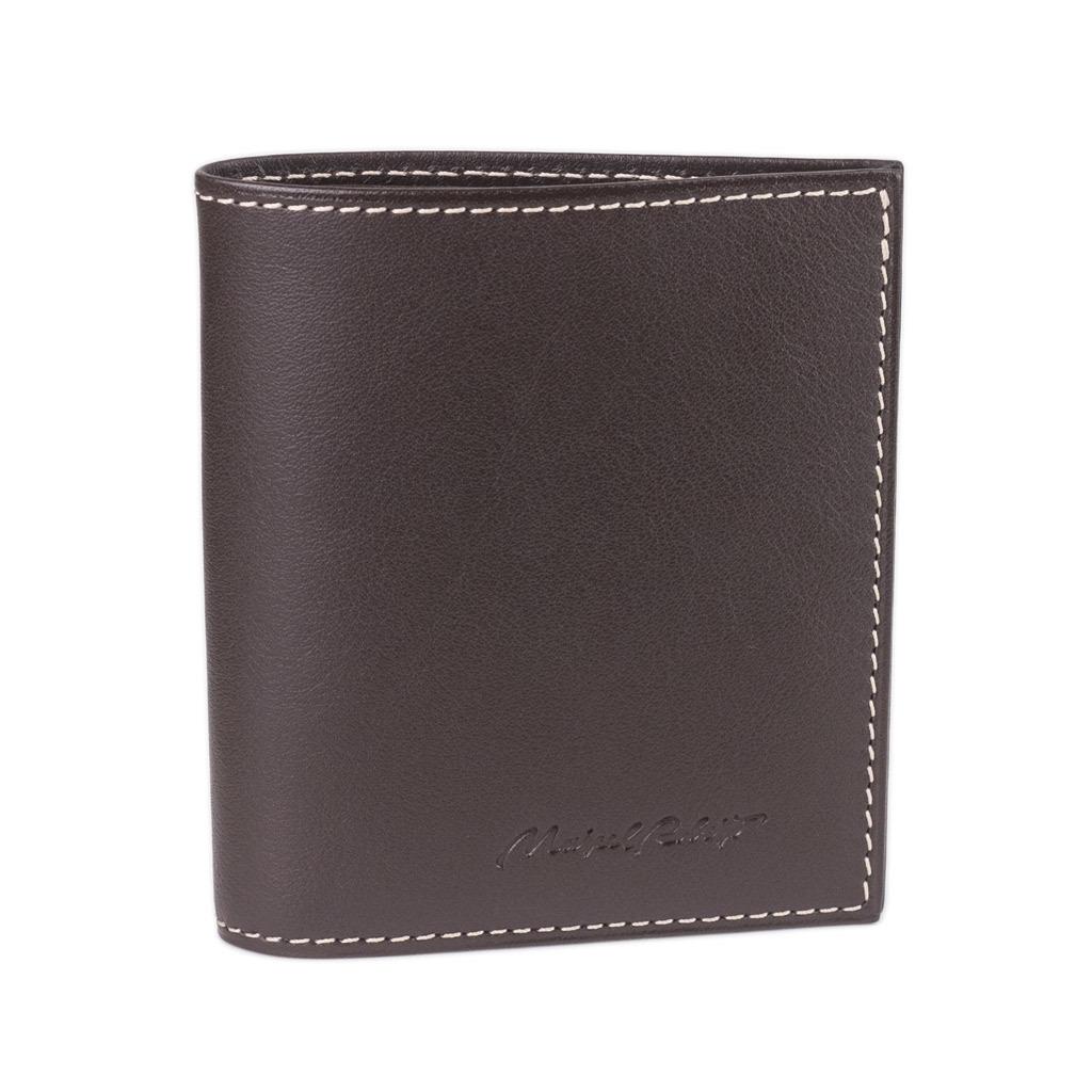 Портмоне-кошелек Carre Easy из натуральной кожи теленка, темно-коричневого цвета