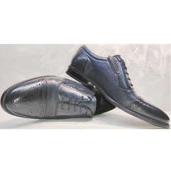Модные мужские туфли оксфорд Ikoc 3805-4 Ash Blue Leather.