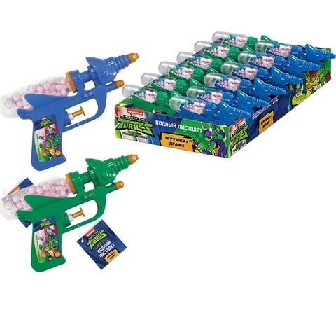 ЧЕРЕПАШКИ НИНДЗЯ Драже с игрушкой Водный пистолет 1кор*6бл*12шт, 5г