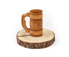 Кружка из дерева с резной ручкой  0,5 л, фото 2