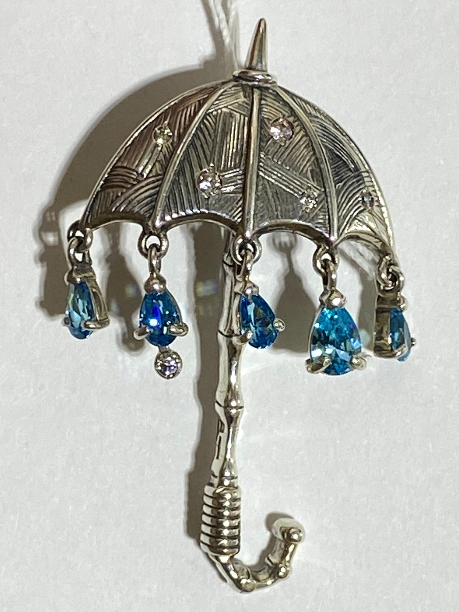Зонтик (серебряная брошь)