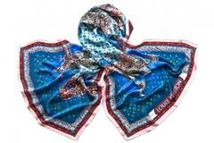 Шёлковый женский голубой палантин (1578 PAL 7)