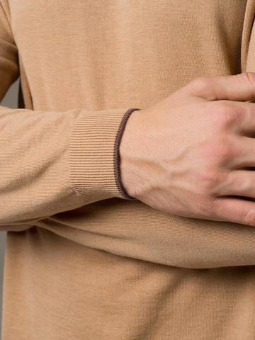 Мужской джемпер бежевого цвета из шерсти и шелка - фото 3