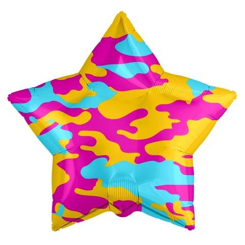 Фольгированная звезда Камуфляж яркий