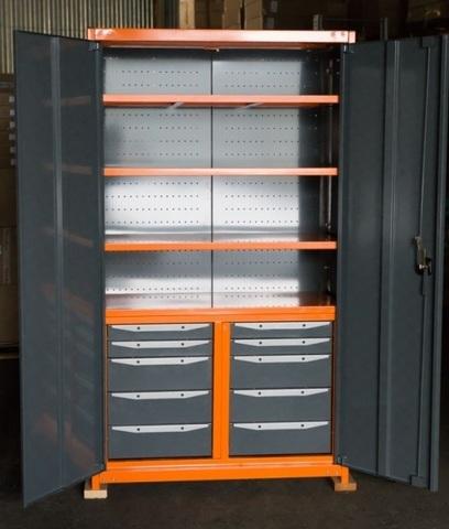 Усиленный шкаф с инструментальными тумбами и полками, ТВК7