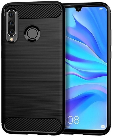 Чехол Huawei P30 Lite (Nova 4E) цвет Black (черный), серия Carbon, Caseport