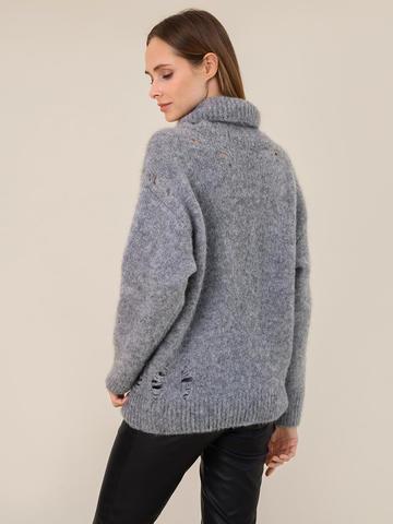 Женский свитер темно-серого цвета из шерсти - фото 4