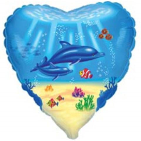 F Сердце Дельфинья семья, 18''/46 см, 1 шт.