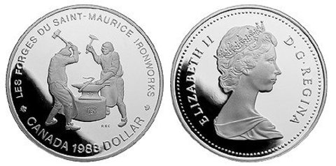 1 доллар. 250 лет кузницам Сен-Мориса. Канада. 1988 г. PROOF. Серебро