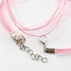 Шнур с замком и цепочкой розовый (капрон + вощеный шнур) 42 см