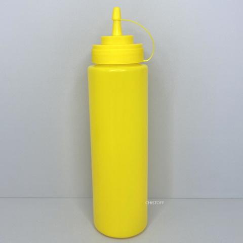 Диспенсер пластиковый для соусов и сиропов 700 мл желтый