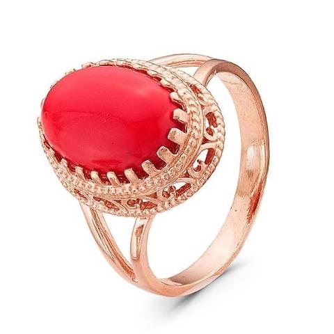 Кольцо с кораллом и позолотой
