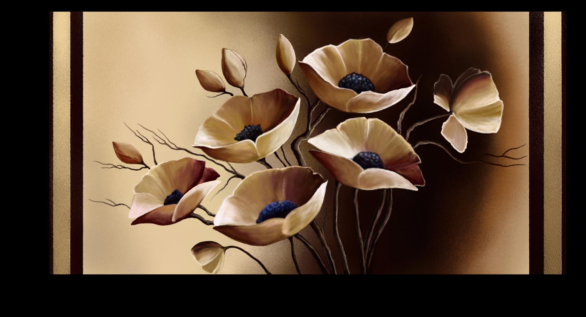 """Постеры Постер """"Бежевые цветы"""" п284.png"""