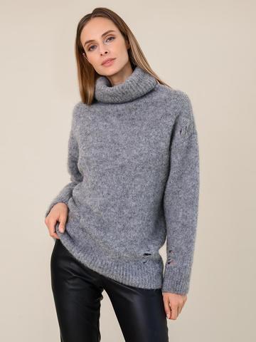 Женский свитер темно-серого цвета из шерсти - фото 2
