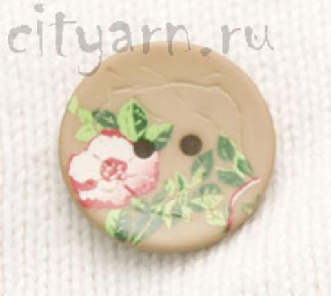 Пуговица с цветком шиповника, светло-коричневая, 20 мм
