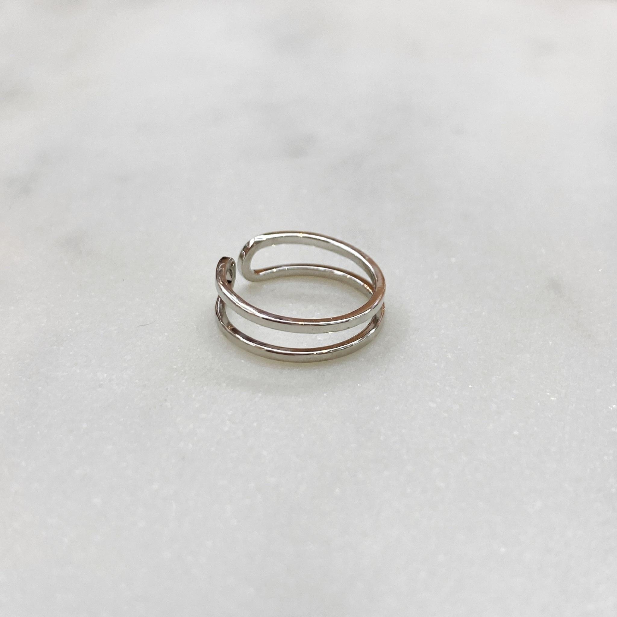 Кольцо на фалангу двурядное (серебристый)