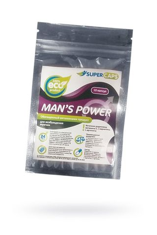 Капсулы для мужчин Man s Power+Lcamitin с гранулированным семенем - 10 капсул (0,35 гр.)