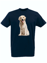 Футболка с принтом Собака (Dog) темно-синяя 0011