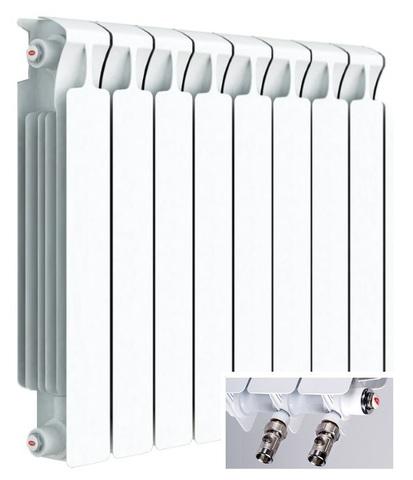 Rifar Monolit Ventil 500, 8 секций - радиатор биметаллический с нижним правым подключением