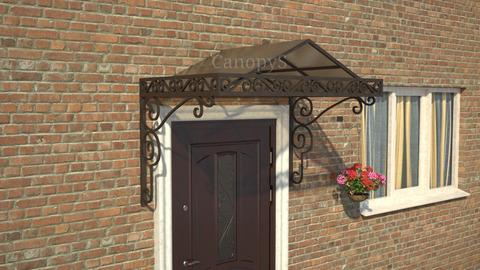 Кованый козырек №9 с бронзовым поликарбонатом над входной дверью