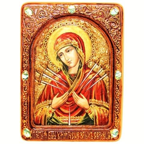 Инкрустированная живописная икона Образ Божией Матери Умягчение злых сердец 29х21см на натуральном кипарисе в подарочной коробке