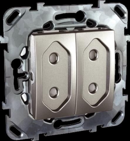 Розетка 2-модульная без заземления, со шторками 10А. Цвет Алюминий. Schneider electric Unica Top. MGU5.3131.30ZD