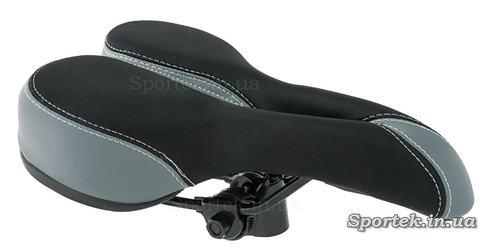 Седло для горных велосипедов мягкое черно-серое с прорезью в носике