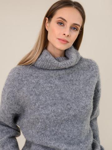 Женский свитер темно-серого цвета из шерсти - фото 3