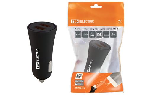 Автомобильное зарядное устройство, АЗУ 2, 2,1 А, 2 USB, черный, TDM