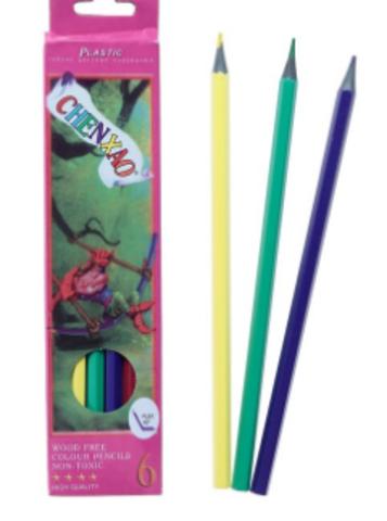 061-8047 Карандаши 6 цветов, в картонной коробке, заточенные, корпус пластиковый