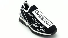 Черно-белые текстильные кроссовки на платформе