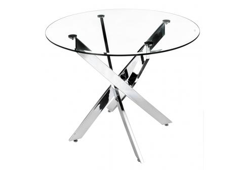 Стеклянный стол кухонный, обеденный, для гостиной Komo 1 80 80*80*73 Хромированный металл /Прозрачный