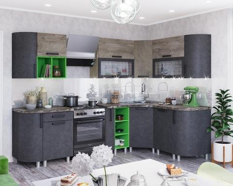 Кухня угловая КРАФТ-7  дуб эндгрейн / бетон темный / дуб сонома