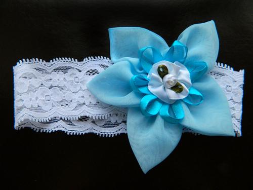 Повязка на голову с голубым цветком, 2901