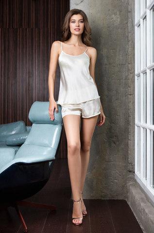 Пижама натуральный шелк MIA-MIA  Rosemary 15142 молочный