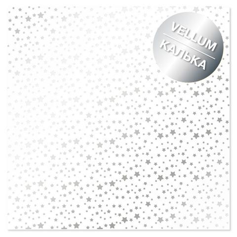 Лист кальки (веллум) с фольгированием Silver Stars