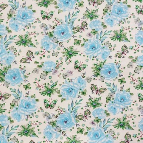 Ткань хлопковая голубые цветы на белом