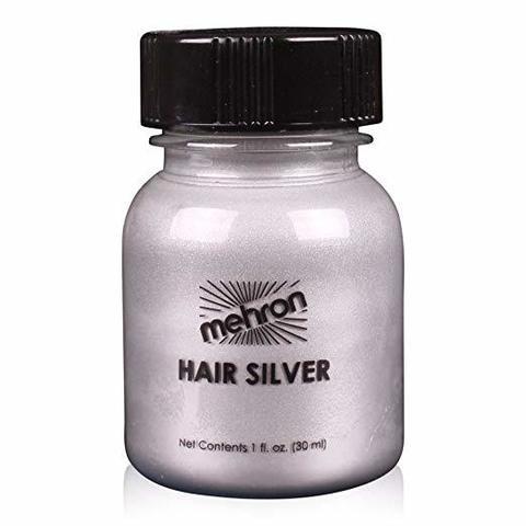 MEHRON Краска для волос Makeup Hair Silver With Brush, Серебристая, 30 мл