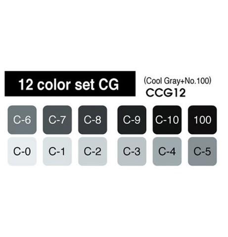 Набор маркеров Copic Sketch серые оттенки WG 12цв
