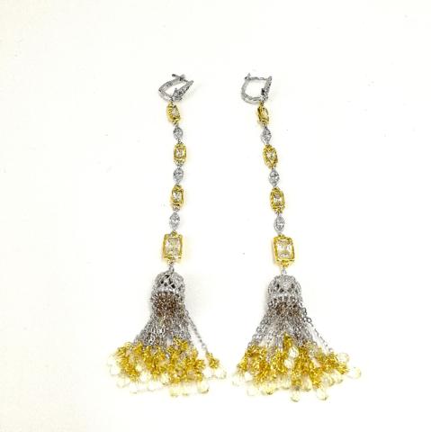 Серьги из серебра с желтыми и белыми цирконами в стиле Ko Jewelry 4808