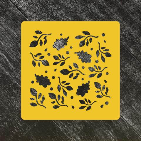 Трафарет осень №13 Веточки и дубовые листья