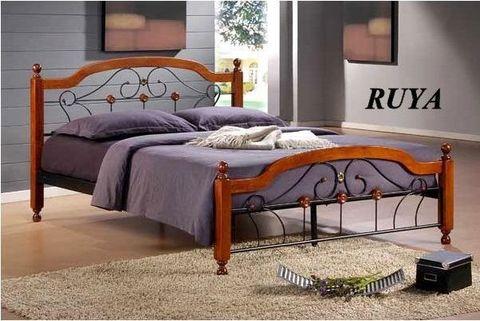 Кровать РУЯ двуспальная металлическая с деревянными ножками 160х200 темный дуб