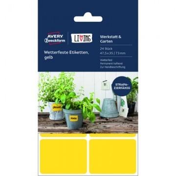 Этикетки самоклеящиеся 62026 Living,всепогодные, желтые, 47,5 х 35 мм,