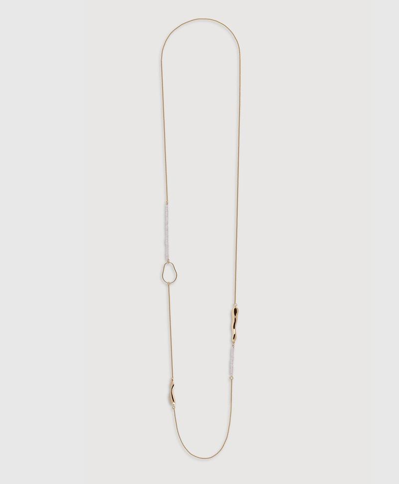 Серебряное колье с мелким белым жемчугом и золотым покрытием