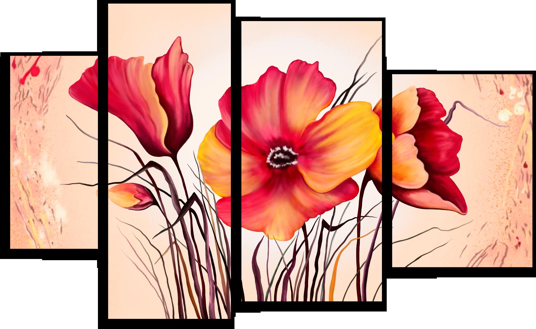 "Цветы Модульная картина ""Красные цветы"" М271.png"