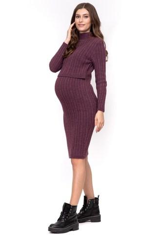 Платье для беременных и кормящих 12078 брусничный